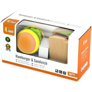 Drveni set pravimo sendvič i hamburger