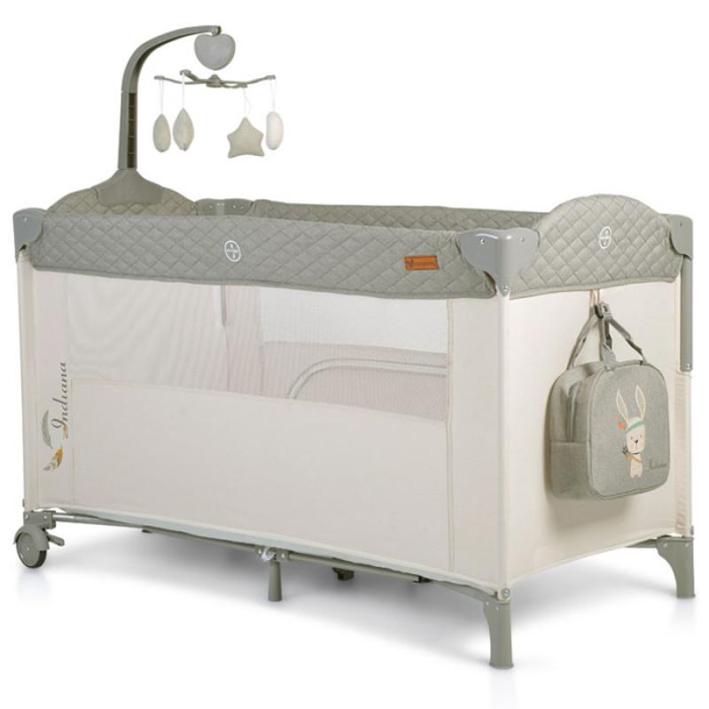 Prenosni krevetac Indiana 2 nivoa sivi