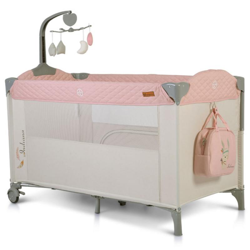 Prenosni krevetac Indiana 2 nivoa rozi